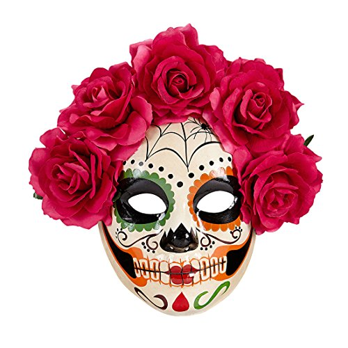 (La Catrina Skelett Todesmaske Sugar Skull Maske mit roten Rosen Tag der Toten Totenkopfmaske Mexikanische Totenmaske Schädel Gesichtsmaske Halloween Dia de los Muertos Halloweenmaske)