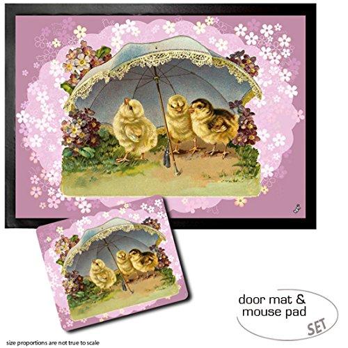 Set: 1 Fußmatte Türmatte (70x50 cm) + 1 Mauspad (23x19 cm) - Ostern, Süße Küken mit...