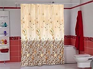 Wohnideenshop Rideau de douche en textile avec anneaux Motifs pierres et coquillages 180 x 200 cm