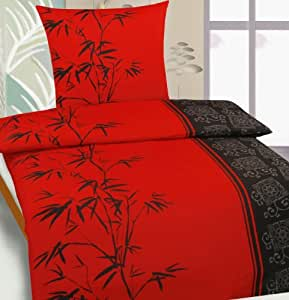 parure de lit 4 pi ces motif asia t chinois en bambou noir rouge 135 x 200 80 x 80 cm. Black Bedroom Furniture Sets. Home Design Ideas