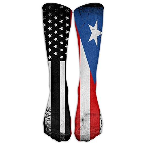 Nicegift USA Puerto Rico Flag Knee High Socks Men&Women Athletic Long Tube Stockings For Running,Hiking,Soccer 19.68 Inches