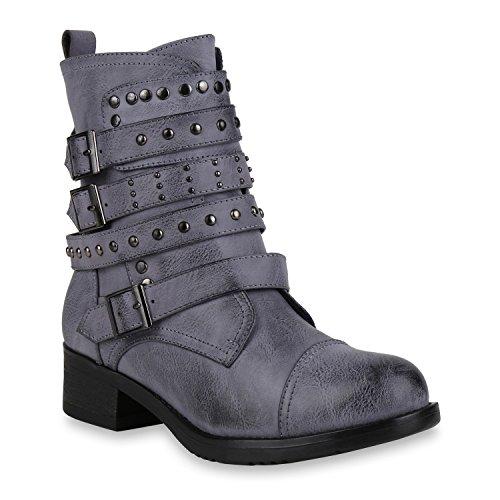 Damen Schuhe Stiefeletten Biker Boots Nieten Leicht Gefütterte Stiefel 146112 Blau Arriate 38 Flandell
