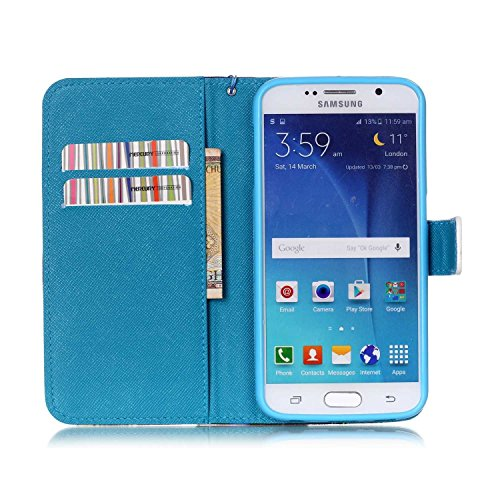 Copertura per Samsung Galaxy S6 in pelle, Samsung Galaxy S6 Custodia Portafoglio, S6 Case Cover, Ukayfe blue Wave-this iphone is locked Design dellunità di elaborazione di vibrazione del cuoio di pro blue Wave-this iphone is locked