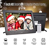 Honorall P702 7 Inch LED Digital Photo Frame IPS Desktop Electronic Album 1280 * 800 HD Supports Music/Video/Photo Player/Alarm Clock/Clock/Calendar Functions with Remote Control