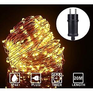 ALED LIGHT 20M 200 LEDs LED Lichterkette Warmweiß Kupferdraht, Wasserdicht Außen Lichterketten, Deko Beleuchtung LED Lichterkette Lampenkette für Haus Patio Garten Weihnachten Hochzeit Party