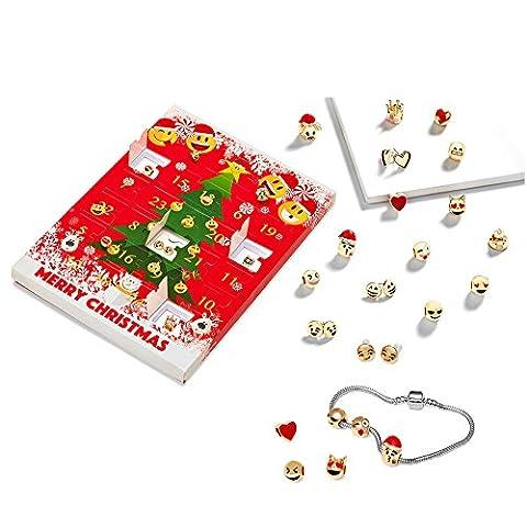 Emoji Jewellery Advent Calendar For Girls Christmas 10 Charm Emoji Bracelets + 8x Stunning Earrings Gift Present Xmas 18K Gold Plated 3D Emoji Slide Fun Face Charms Funny