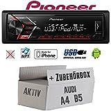 Audi A4 B5 Aktiv - Autoradio Radio Pioneer MVH-S100UI - | MP3 | USB | Android | iPhone Einbauzubehör - Einbauset