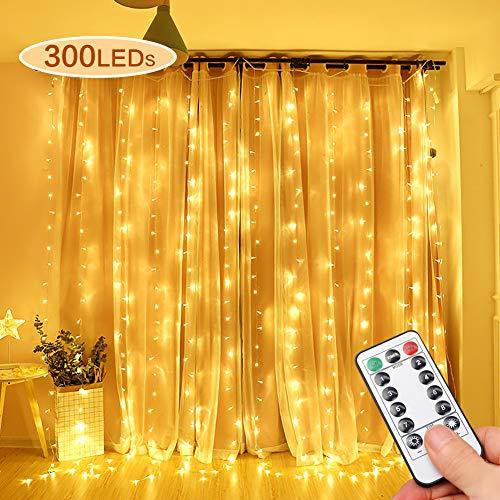 Opard LED Lichtervorhang 300LEDs, Lichterkettenvorhang 3M*3M IP65 Wasserfest 8 Modi Lichterkette Warmweiß für Party Schlafzimmer Innen und außen Deko
