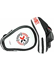 Leather Focus Pads Hook and Jab Mitts MMA Boxing Martial Arts Muay Thai Kickboxing Sparring Punch Bag Pad(Black White Red) by Xn8 Sports