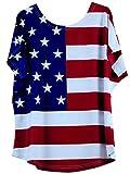 Hoverwin shirt femme manches courtes,tshirt ample - tops blouse, manches chauve souris femme, imprimé USA drapeau,Taille S à 5XL (2, M)