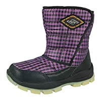 Yijiabao Kids Boys Girls Waterproof Warm Faux Fur Lined Thermal Wellington Gingham Winter Snow Boots Size UK 12.5-3 (UK 1/ EU 33, Black/Purple)