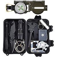 Tianer Emergency Survival Kits 11 in 1, Professionelle Überlebenswerkzeuge Outdoor Survival Gear Kit für Reisen Wandern Biken Klettern Jagd