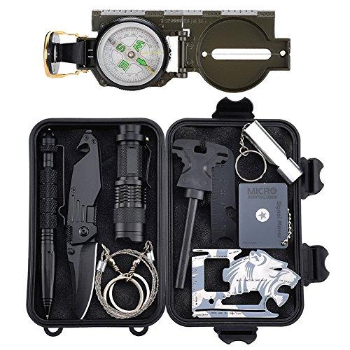 Emergency Survival Kits 11 in 1, Tianer Professionelle Überlebenswerkzeuge Outdoor Survival Gear Kit für Reisen Wandern Biken Klettern Jagd (Auto Survival-kit Für)