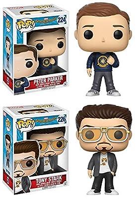 Funko POP! Spider-Man Homecoming: Peter Parker + Tony Stark - Vinyl Bobble-Head Figure Set NEW