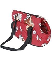 SODIAL(R)Bolsa de viaje de hombro llevado suave Bolso para perro / gato de tamano pequeno -rojo