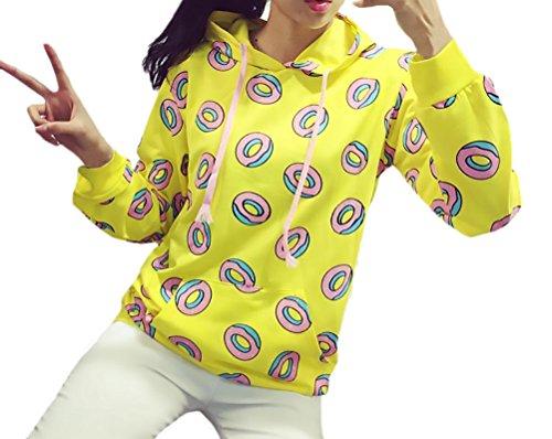 Sudaderas Mujer con Capucha Donuts Impresión Amarillo Sweatshirt Encapuchado Pa...