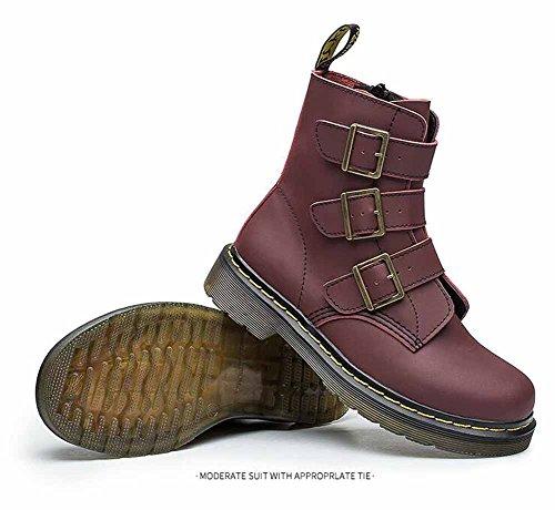 Pelle Martin Boots Donne Caricamenti Del Sistema Rotondi Di New England Di Autunno Stivali Dell'inarcamento Di Modo Nero Bianco Rosso Red