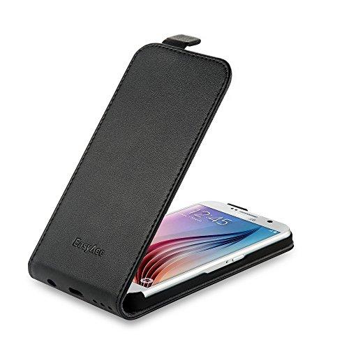 EasyAcc Hülle Case für Samsung Galaxy S6, ECHT LEDER Hülle Lederhülle Handyhülle Flip Case Cover + Schutzfolie und Reinigungstuch ECHT Leder Kompatibel mit Samsung Galaxy S6 - Schwarz