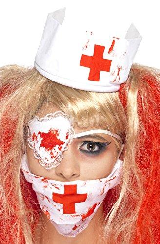 Damen Instant Blutig Toter Zombie Krankenschwester Halloween Zubehör Set Kostüm Kleid Outfit (Tote Halloween Krankenschwester)