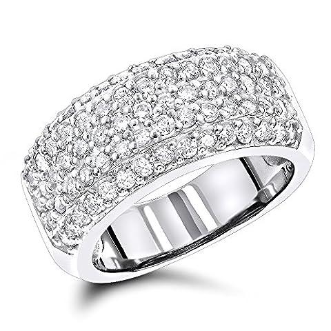 Luxurman Ladies Wedding 14K Pave Set Natural 1.5 Ctw Diamond