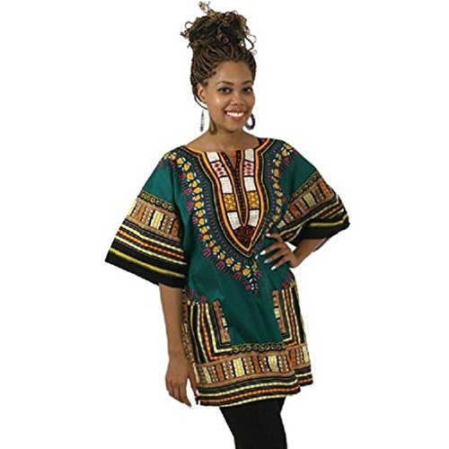 Blouse Tonsee, Mokingtop Marque Unisexe Thaïlande traditionnelle Style africain Dashiki impression T-Shirt Blouse Tops Vert
