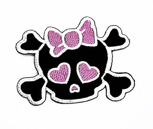 Cute Pretty Skull Cross Bones Girl mit rosa Schleife Punk-Biker-Patch-Hand bestickt und Bügelbild Symbol Jacke T-Shirt patches aufnäher Zubehör