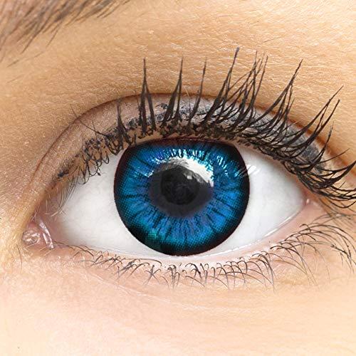 MeralenS Anime Manga Blaue Circle Lenses - Sweet Blau ohne Stärke mit Kontaktlinsenbehälter - 15mm Farbige Big Eyes Contact Lenses