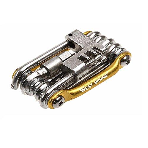 West Biking acciaio inossidabile Mini utensili multiuso bicicletta riparazione strumenti Kit 11in 1multifunzione di attrezzi per bicicletta, Uomo ragazza unisex donna,