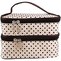 PIXNOR Polka Dot cosmetici borse palmare Womens due-strato cosmetico trucco borsa Toiletry Bag Organizer (bianco crema)