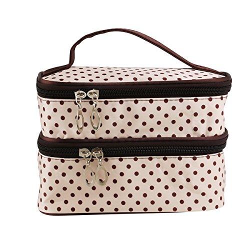 PIXNOR Polka Dot cosméticos bolsas de mano mujeres dos capas maquillaje cosmético bolso organizador de bolsa de aseo (blanco cremoso)