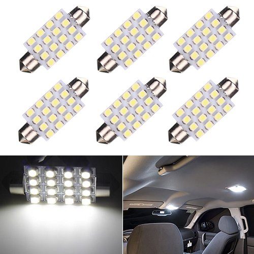 Ralbay Interior Festoon LED Light - 42mm-3528-16 SMD-6000k - w5w Used for Car Dome and Reading Light Bulbs 211-2 212-2 569 578(Pack of 6)