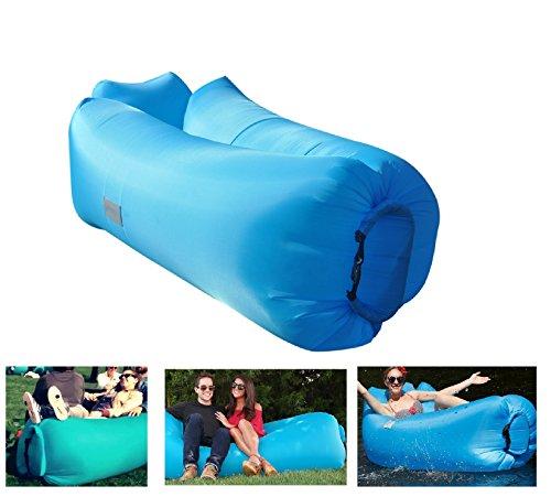 NEU Herzkissen Luftsofa Aufblasbares Sofa Aufblasbare Luftmatratze mit Taschezum Verstauen für Outdoor Wasserdicht Blau