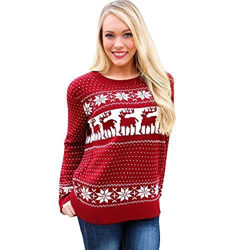 Maglione di natale maglione di natale maglione maglione costume di da donna merry christmas renna maglione di natale elf by (color : rosso, size : s)