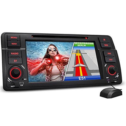 "Preisvergleich Produktbild XOMAX XM-46B Autoradio passend für 3er BMW E46 I Naviceiver mit GPS Navigation NAVI Software mit Europa Karten I Bluetooth I 18cm / 7"" Touchscreen I DVD CD Player I USB Anschluss I SD Kartenslot"