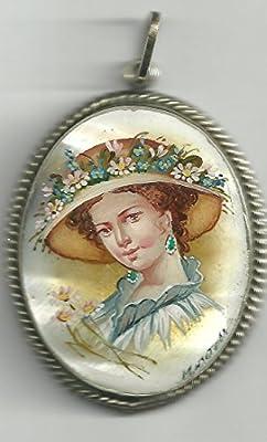 10.c. Pendentif De Nacre Russe Peint À La Main