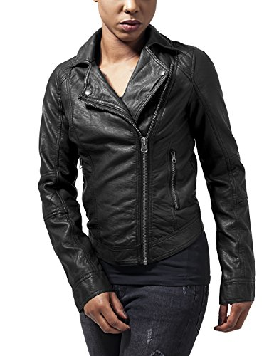 Urban Classics Ladies Leather Imitation Biker Jacket, Giacca Donna Nero (Black 7)