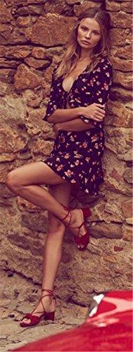 Moda Scoperta sul davanti Spalle Scoperte balze ruches volant Fondo con scollo profondo a Maniche Corte a fiori floreale Skater A-Line Linea Ad A Svasato Mini Corte Corta Dress Vestito Abito nero Nero
