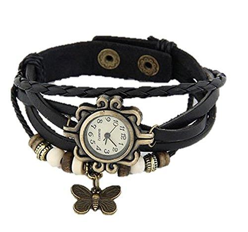 Access-o-Rising Leather Multiband Women's Watch Bracelet - Black