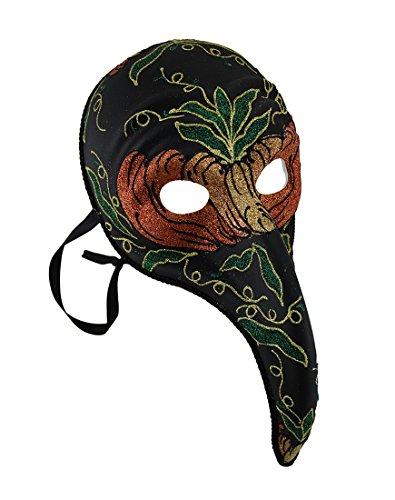 Zeckos Black Plague Doctor Style Long Curved Nase Fancy Karneval Maske (Zanni Kostüm)