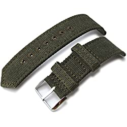 20mm MiLTAT WW2 Military Green Washed Canvas Watch Band, lockstitch pin-hole, P