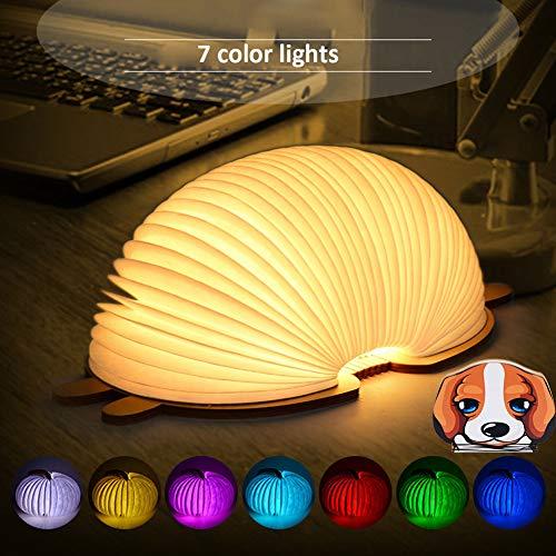 GLXQIJ Led luz de Libro mágico de Dibujos Animados, 7 Colores Plegable magnética lámpara de cabecera USB Recargable Creativo para niños decoración para el hogar,Dog
