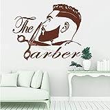 Tianpengyuanshuai Coiffures pour Hommes coiffeurs Hipster Logo Autocollants en Vinyle Homme Cheveux rasés barbier vitrine126x100cm