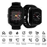 JASZHAO Montre de Sport, 4G Smart Watch Android 6,0 MTK6737 1G + 8G SmartWatch IP67 étanche Batterie 850mAh Longue Veille en Plein air Robuste Montre,B