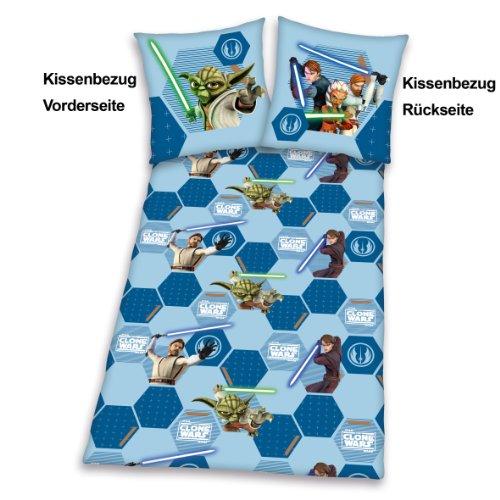 Herding 488545050412 Bettwäsche Clone Wars, Kopfkissenbezug – 80 x 80 cm und Bettbezug – 135 x 200 cm, 100 % Polyester, Microfaser