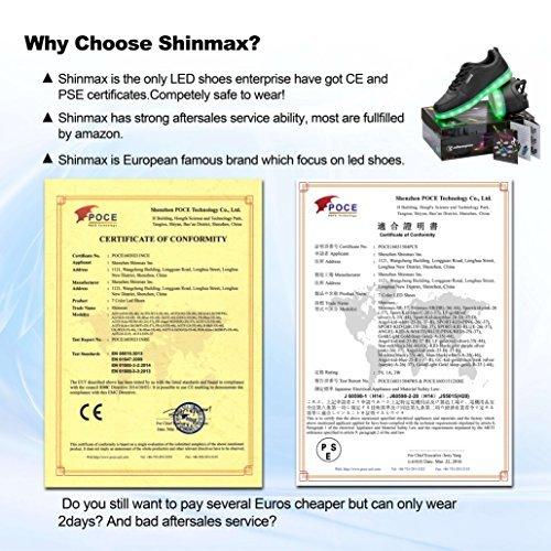 Shinmax Scarpe LED Carica USB 7 Colori Lampeggiante Unisex da Tennis per il Giorno di Natale del Regalo del Partito di Promenade con Certificato CE Scarpe con Luci Bianca