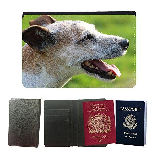 Cubierta del pasaporte de impresión de rayas // M00133651 Cane Capo Close Parson Russell Terrier // Universal passport leather cover