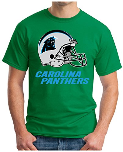 OM3 Carolina Panthers - T-Shirt   Herren   American Football Shirt   Super Bowl 52 LII   NFL   S - 5XL Grün