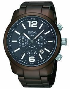 Pulsar - PT3187X1 - Montre Homme - Quartz Analogique - Chronomètre - Bracelet Aluminium Marron