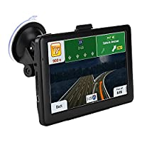 Car GPS Navigation, 7-inch Portable Car Navigation Electronic Touch Screen True Voice Broadcast DDR128M Operation, Memory 8GB+8GBTF Card 16GB Map Lifetime Free Update (Black)