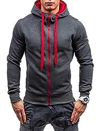 BOLF Herren Sweatshirt Longsleeve Pullover Sweatjacke Reißverschluss Kapuze J. STYLE 2073